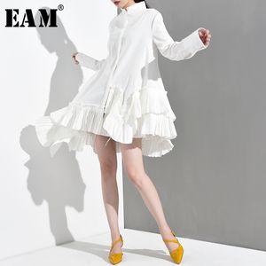 [EAM] Yeni İlkbahar Sonbahar Standı Yaka Uzun Kollu Beyaz Düzensiz Hem Ruffles Gevşek Gömlek Kadın Bluz Moda Tide 200925