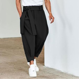 Men's Pants Autumn All-match Mens Streetwear 2021 Spring Fashion Solid Lace-up Belt Design Cropped Trousers Men Casual Mid Waist Loose