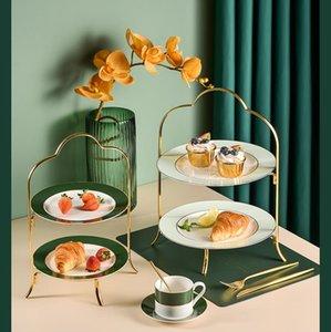 Piatti piatti nordici di lusso di lusso tavola di nozze tavola di frutta vassoio di frutta set domestico creativo creativo doppio strato torta rack snack piatto piatti da serving piatto