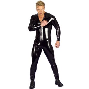 Hommes Sexy Sexy Wet Look Fetish Latex DS NightClub Costumes Costumes Costume Cosplay Costume Body Costume Black Brevet Cuir PU Cuir Erotic Leotard