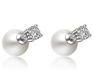 다이아몬드가 빛나는 크리스탈 귀걸이 파티 선물 웨딩 쥬얼리와 여성을위한 럭셔리 패션 큰 진주 스터드 귀걸이