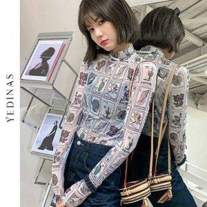 YEDINAS старинные почтовые марки печати сетки футболки с длинным рукавом корейский стиль женщины водолазка Смотреть сквозь модный дизайнер Tee Top 210527
