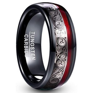 New tungsten gold men's and women's jewelry 8mm wide tungsten steel slotted electric black inlaid guitar string Ring Jewelry