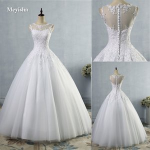 ZJ9036 lace White Ivory A-Line Wedding Dresses for bride Dress gown Vintage plus Customer made size 2-28W