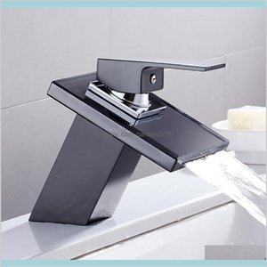 Bathroom Sink Faucets Faucets, Showers & Accs Home Garden Glass Waterfall Basin Faucet For The Black Deck Mount Square Vanity Mixer Ta