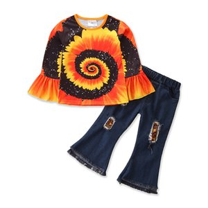 kids Clothing Sets girls outfits children sunflower Flare Sleeve Tops+Hole Denim Flared pants 2pcs set Spring Autumn fashion baby clothes Z2794