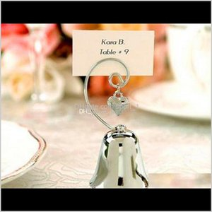 Other Event Festive Party Supplies Home Garden Drop Delivery 2021 Charming Chrome Bell Place Card Po Holder With Dangling Heart Charm Baby Sh