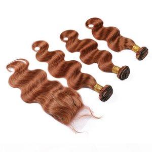 Offres de forfaies de corps de cheveux humains de Malaisien Auburn Human Humain Bundle avec fermeture # 30 Medium Auburn Wavy Virgin Hair Weave Bundles avec fermeture en dentelle