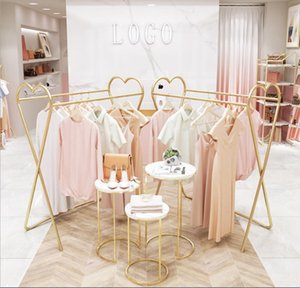 Clothing store double row middle island racks Commercial Furniture floor type window display rack children's clothes stores gold coat hanger