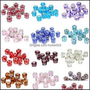 Joyería sueltaDiy Fantasía Fantasía Forma Redonda Hecha A Mano Lampwork Encantos Beads Se adapta a Pulseras de Marca Collares Para Mujeres Joyería Haciendo 100pcs Drop Deli