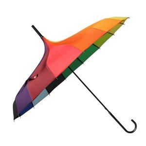 50pcs Fashion Rainbow Pagoda Palace Creative Umbrella Sun Rain Lady Princess Royal Long-handled Straight Golf Umbrella