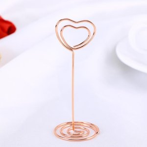 Heart Shape Po Holder Stands Table Number Holders Paper Menu Clips For Wedding Banquet Party (Rose Gold) Decoration