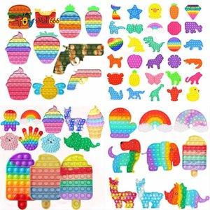 DHL Rainbow Zappeln Spielzeug Sensorische Push Bubble Erwachsene Autismus Sonderbedürfnisse Angst Stress Reliever Für Büroangestellte Fluoreszierende