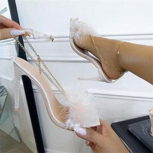 Woman sandals 2021 New Feather Design chain PVC Transparent Sandals Perspex High Heels Fur Peep toe Ladies Shoes1
