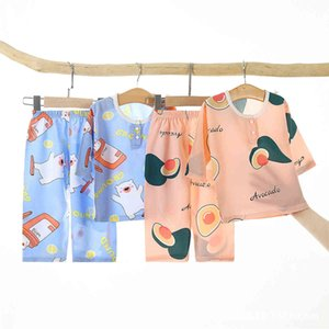 2021 new summer children's pajamas cotton silk home two piece air conditioning suit for boys and gQZOM