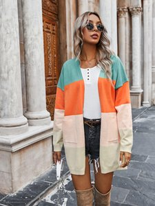 Women Color Block Rainbow Knitted Cardigan Sweaters Open Front Casual Long Sleeve Outwear with Pockets Streetwear Fashion Pull Femme Coat Tops