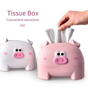 Tissue Boxes & Napkins Bedroom Napkin Storage Cartoon Box Desktop Universal Thickened Home Office Cute Plastic Pig Shape Kitchen Living Room