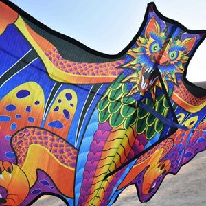 3D Dragon For Children Nylon Toys Fly Bat Factory Eagle Bird Outdoor s Flat Kite Weifang 1.6m Line
