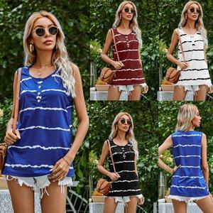 Camisas de la mujer Summer Amazon Station Independiente ondulado Impresión de rayas T-shirt Botón Casual Cuello redondo Chaleco femenino