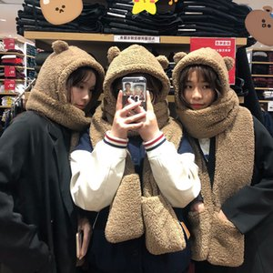 Bear's Ear Protection Female Autumn Lovely Winter Plush Scarf and Hat in One