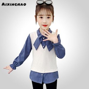 School Blouses For Girls Patchwork Shirt Long Sleeve Blouse Children's Girl Teenage Kids Clothes Shirts