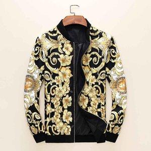 2021 Chaquetas para hombres Europa de lujo clásico clásico estilo aristocrático de alta calidad de impresión de moda delgada ropa exterior cremallera casual rompevientos M-3XL