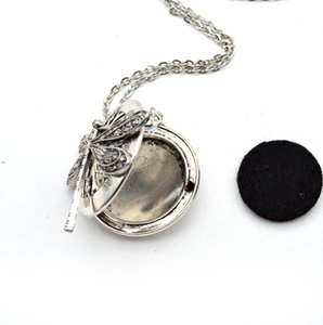 5pcs Dragonfly Design Lockets Vintage Essential Oil Diffuser Necklace Aromatherapy Locket Pendant Statement Necklace Jewelry Gift 47 N2