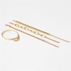 New Vintage Punk Style Heavy Link Chain Bracelet Sets 4PCS Set Cuban Twisted Rope Chain Bracelets For Women Men QD 1268 Q2
