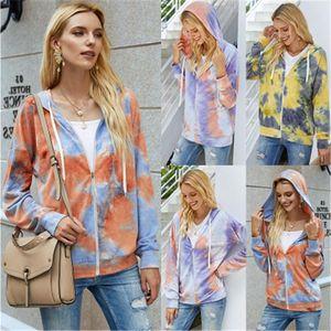 Tie-dye Womens Hoodies Fashion Occident Trend Cardigan Long Sleeve Zipper Pocket Hooded Sweater Designer Female Loose Casual Sweatshirts