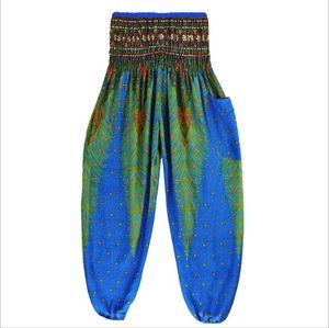 Mujeres Thai Pantalones Altos Cintura Color Floral Impresión Dot Baggy Harem Pantalones Martial Stringstring Hippy