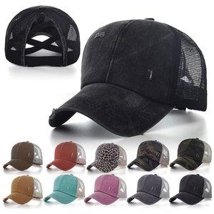 MZ01 Fashion Sports Snapbacks Criss Cross Ponytail Hats Washed Mesh Back Leopard Sunflower Plaid Camo Hollow Messy Bun Baseball Caps Trucker Hat