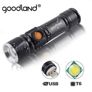 Goodland USB LED Flashlight Rechargeable Torch Light Lanterna T6 High Power Battery Lantern Tactical for Bicycle 210608