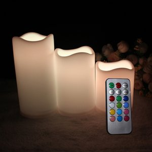 2021 Waterproof Flickering Outdoor Indoor Battery Operated LED Flameless Candles with Remote Timers Won't Melt Moving Flame Ivory Frosted Plastic