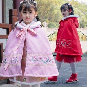 2020 Hanfu Kızlar Kalınlaşmış Sıcak Çocuk Phoenix Cape Antik Giyim Sonbahar Ve Kış Çin Ceket Kadınlar