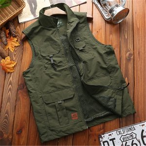 Summer Cargo Vest Men Green Tactical Sleeveless Jacket Mens Outdoor Fishing Hiking Camping Pographer Waistcoat Male Clothes Men's Vests