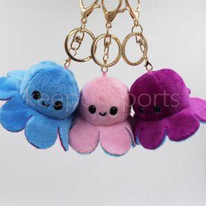 DHL Reversible Flip Octopus Keychain Metal Key Ring Plush Doll Toys Bag Animal Pendants Double-Sided Emotion Toy Cute Keyring