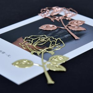 2 Colors Metal Bookmark Hollow Exquisite Rose Bookmarks Simple Elegant Page Markers Assorted Book Marker SN5344