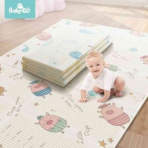 BabyGo Baby Foldable Play Mat XPE Tasteless Double Sides Crawl Mat Thickened Active Play Blanket Baby Room Crawling Pad150*195CM 210401