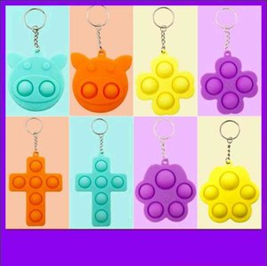 Pig Clover Shape 12 Styless Pop It Push Bubble Fidget Toy Keychain Pandent Stress Reliever Sensory Silicone Toy Keyring Kids Gift