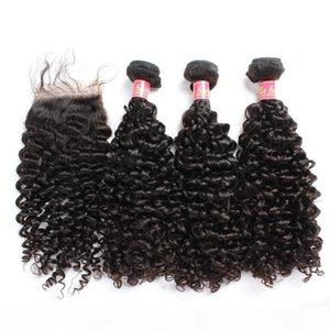 Bella Hair? 8A Hair Bundles with Closure Brazilian Virgin Curly Human Hair Weaves Natural Color Extensions julienchina