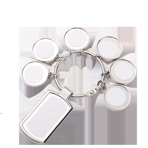 Pendant Sublimation Keychains 7 pieces Set Heat Thermal Transfer Printing Metal Keychain White Blank Pendants RRE9829