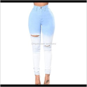 Womens Clothing Apparel Drop Delivery 2021 Autumn Blue And White Gradient Color Sexy High Waist Feet Jeans Women Tight Bag Hip Trousers Wodif