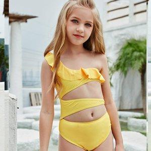 Children's Swimsuit Girl Yellow Color Bikinis One Pieces Swimwear Bathing Suits Swim Halter Kids Bikini One-Pieces