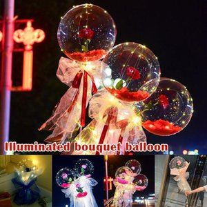LED Light DIY Rose Flower Bobo Balloons Fairy Light with Sticks Transparent Bouquet Ballons for Party Balloon Wedding Holiday