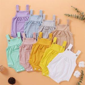 kids Rompers girls boys Sling Pit stripes romper infant Toddler Solid color Jumpsuit Summer fashion Boutique baby Climbing Clothing Z2741
