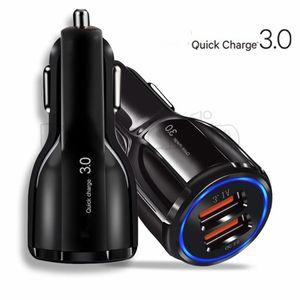 QC 3.0 Dual Port Carregador de Carro de Alta Velocidade de Alta Velocidade Carregadores Rápidos Carregadores 3.1A adaptador para iphone 5 6 7 8 x Samsung S8 S10 HTC Phone Android