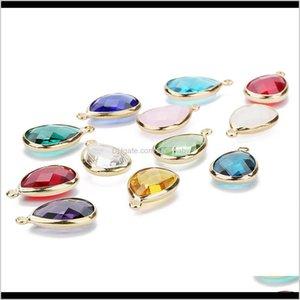 Drop Delivery 2021 Women Glass Crystal Bead Teardrop Copper Loose Beads Connector For Charm Choker Bracelet Earrings Necklace Diy Jewelry Mak