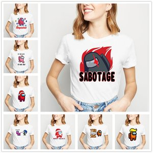 Women's T-Shirt Summer tops Crew Neck Short sleeve Casual Girls shirt Game Among Us printing Cartoon funny white plus size S M L XL