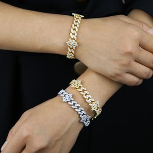 Hip Hop Bling Women's Rapper Bracelet Full Shiny Zircon Paved US Dollar Sign Charm Miami Cuban Link Chain Bracelets Jewelry Link,