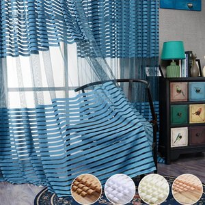 Curtain & Drapes Nordic All- Tulle Sheer Light Ployester Sag Fabric Balcony Stripe With Lace For Home Living Room Window Decor